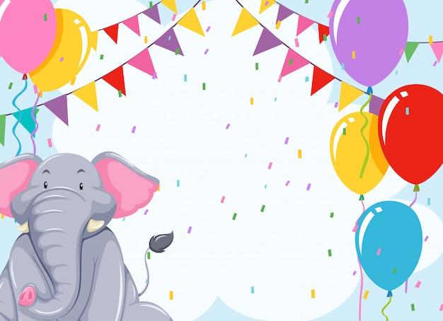 Elepehant en plantilla de cumpleaños