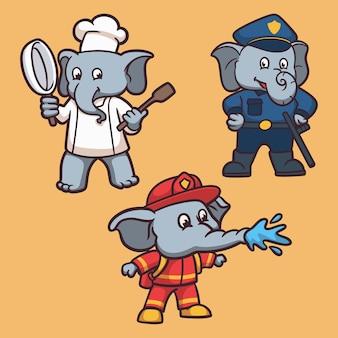 Elephant trabaja un paquete de ilustración de mascota de logotipo de animal de chef, policía y bombero