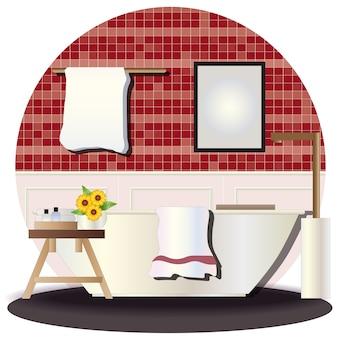 Elevación interior de baño con fondo.