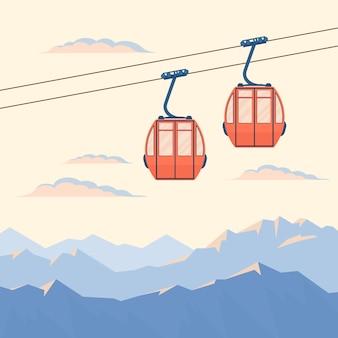 El elevador de cabina de esquí rojo para esquiadores de montaña y snowboarders se mueve en el aire en un teleférico