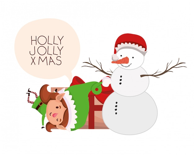 Elf mujer con caja de regalo y muñeco de nieve