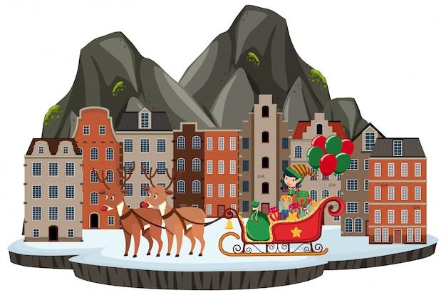 Elf con raindeer caminando por la ciudad sobre fondo blanco.