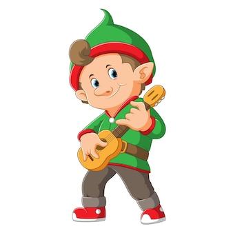 El elfo toca la guitarra de madera con la cara feliz de la ilustración.