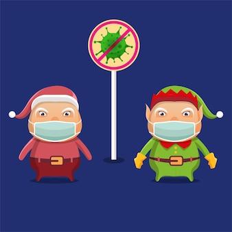 Los elfos de dibujos animados y santa claus están alertas al covid-19 al llevar a cabo las celebraciones navideñas