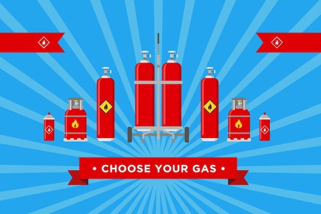 Elija el diseño de su cubierta de gas. cilindros y globos con ilustraciones de vectores de señales inflamables con texto publicitario. plantillas para el fondo del sitio web de la empresa de producción y distribución de gas