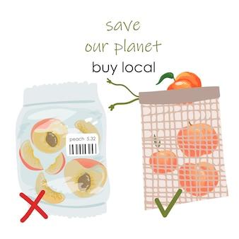 Elija sin plástico. duraznos envasados y en rodajas en una bolsa de plástico con señal de prohibición.