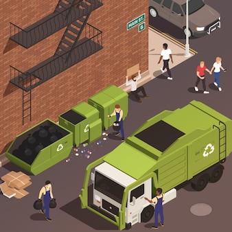 Eliminación de basura isométrica con personas masculinas en uniforme cargando desechos en camiones desde contenedores