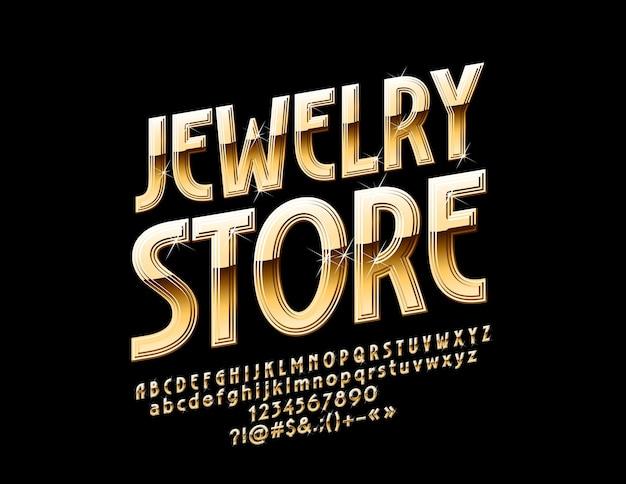 Elite conjunto de letras y números del alfabeto dorado. logotipo con tienda de joyería de texto.