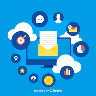 Email marketing en diseño plano