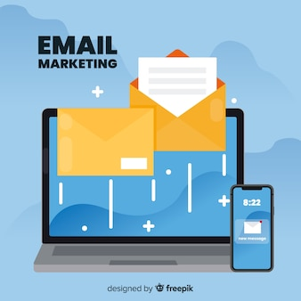 Email marketing en diseño plano