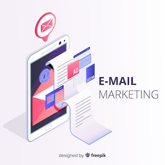 Email marketing estilo isométrico