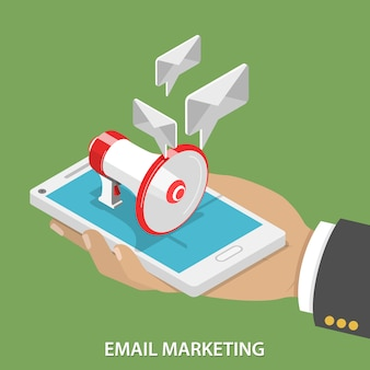 Email marketing isométrico plano