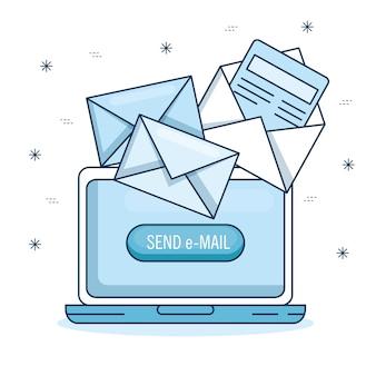 Email marketing y promoción de la computadora con notificación por correo electrónico