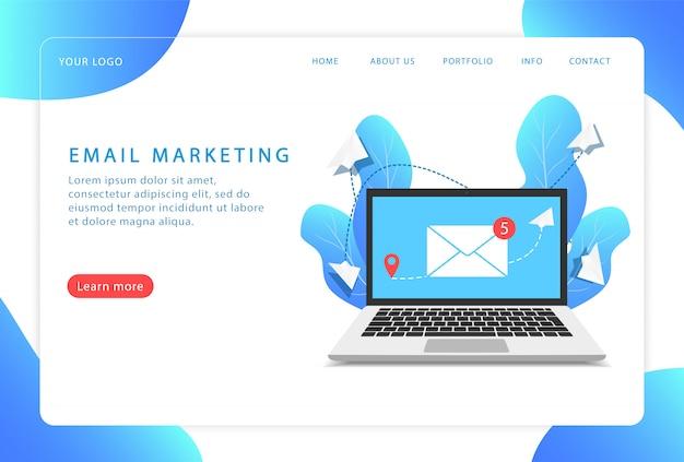 Email marketing, servicio de correo. página de destino. páginas web modernas para sitios web.