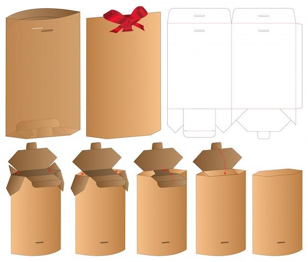Embalaje de bolsa de papel troquelado diseño de plantilla. maqueta 3d