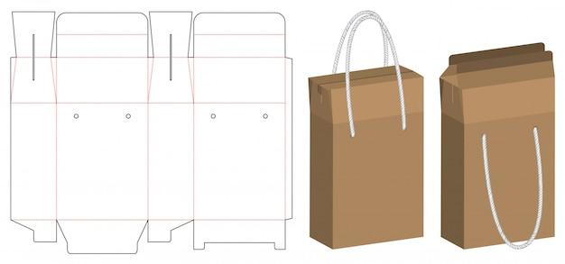 Embalaje de bolsas de papel troquelado y maqueta de bolsa 3d