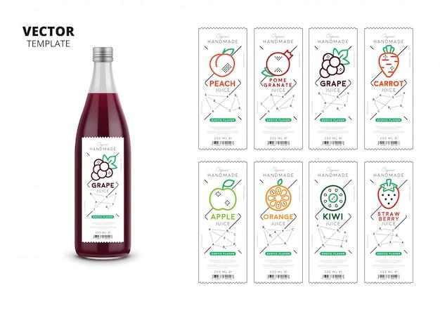 Embalaje de botella de vidrio realista de jugo fresco con conjunto de etiquetas