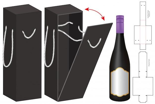 Embalaje de la caja de la botella de diseño troquelado plantilla. 3d