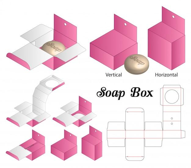 Embalaje de caja de jabón troquelado diseño de plantilla.