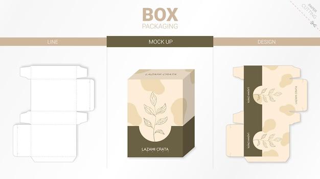 Embalaje de caja y plantilla troquelada de maqueta