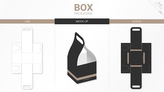 Embalaje de caja y plantilla troquelada