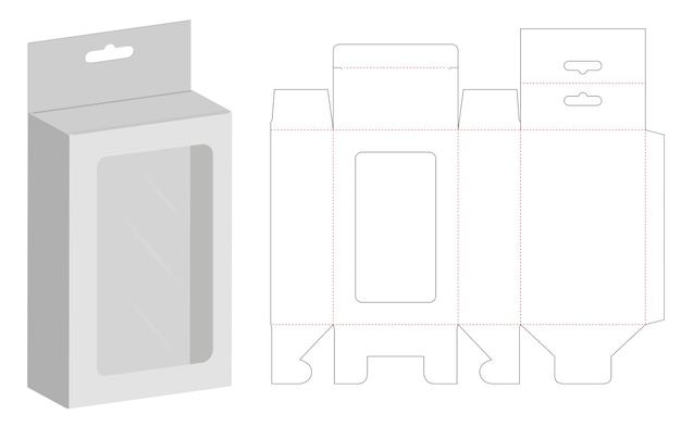 Embalaje de caja troquelado plantilla 3d maqueta
