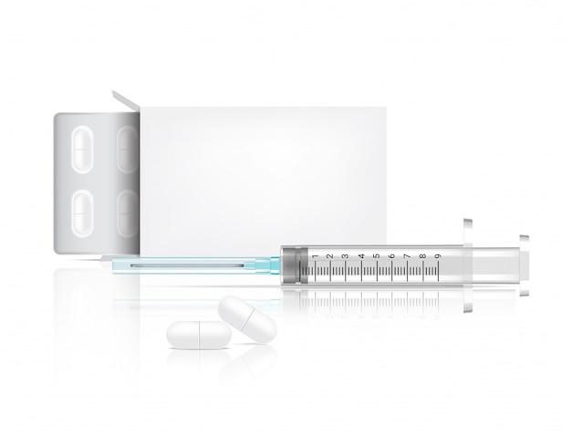 Embalaje de cajas y pastillas medicina realista