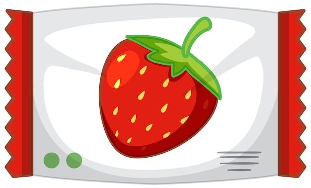 Embalaje de caramelo de fresa aislado