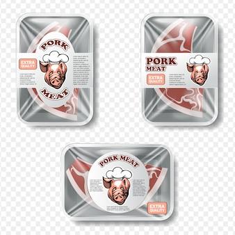 Embalaje de carne con etiqueta y patrón.
