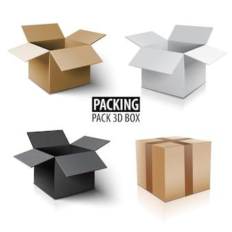 Embalaje de cartón caja 3d. entrega de paquetes de diferentes colores.