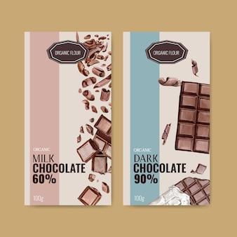 Embalaje de chocolate con barra de chocolate roto, ilustración acuarela