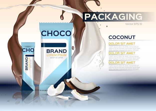 Embalaje de chocolate con coco
