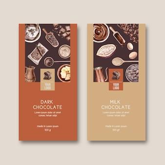 Embalaje de chocolate con ingredientes cacao, ilustración acuarela