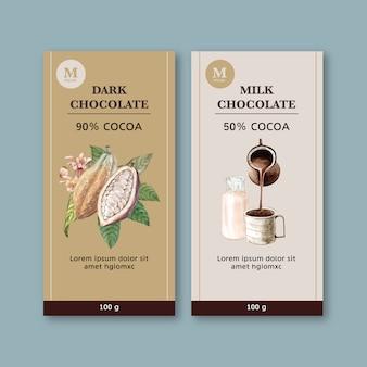 Embalaje de chocolate con ingredientes rama cacao, ilustración acuarela