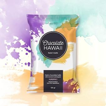 Embalaje colorido chocolate hawaii