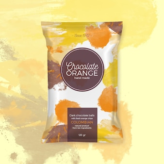 Embalaje colorido chocolate naranja