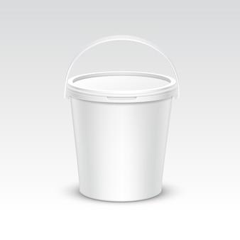 Embalaje de contenedor de cubo de plástico en blanco de vector