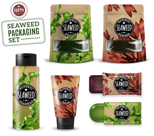 Embalaje cosmético realista de algas marinas