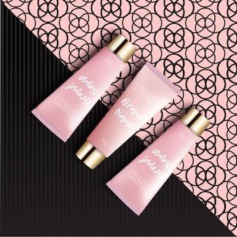 Embalaje de cosméticos de diseño de plantilla realista. la crema de tubo es un fondo brillante, moderno y juvenil, una vista superior. publicidad de cosméticos de moda.