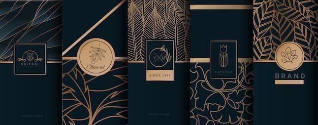 Embalaje dorado de lujo con logo