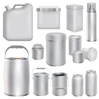 Embalaje de metal maqueta set. ilustración realista de 10 maquetas de envases metálicos para web.