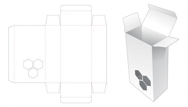 Embalaje con ventana hexagonal plantilla troquelada