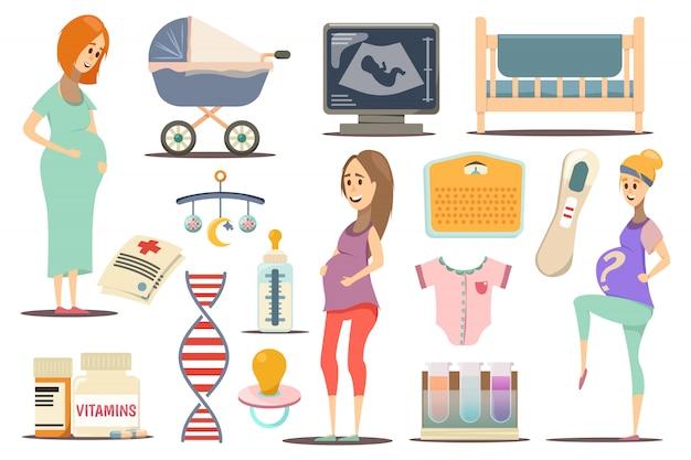 Embarazo conjunto de iconos plana