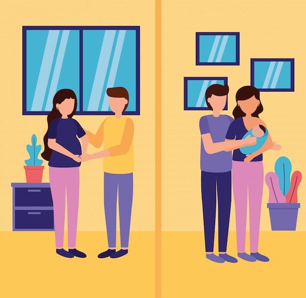 Embarazo y escena de maternidad