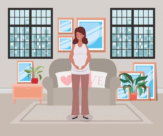 Embarazo hermosa mujer en la escena de la sala de estar