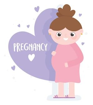 Embarazo y maternidad, dibujos animados lindo de la mujer embarazada, letras de corazones de amor púrpura
