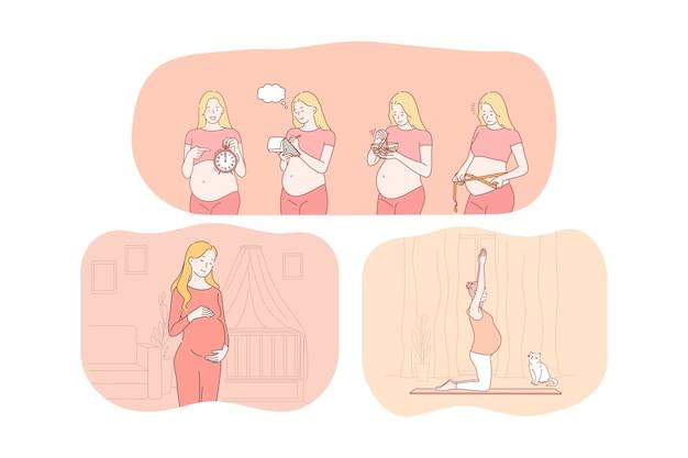 El embarazo, la maternidad, la espera del parto y el concepto de bebé. dibujos animados de mujeres embarazadas felices jóvenes