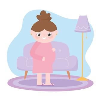 Embarazo y maternidad, linda mujer embarazada en dibujos animados de sala de estar