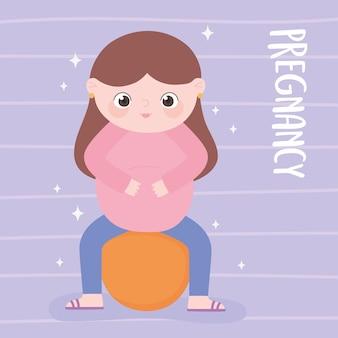 Embarazo y maternidad, linda mujer embarazada sentada en dibujos animados de fitball