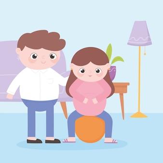 Embarazo y maternidad, linda mujer embarazada sentada en fitball y padre en la habitación